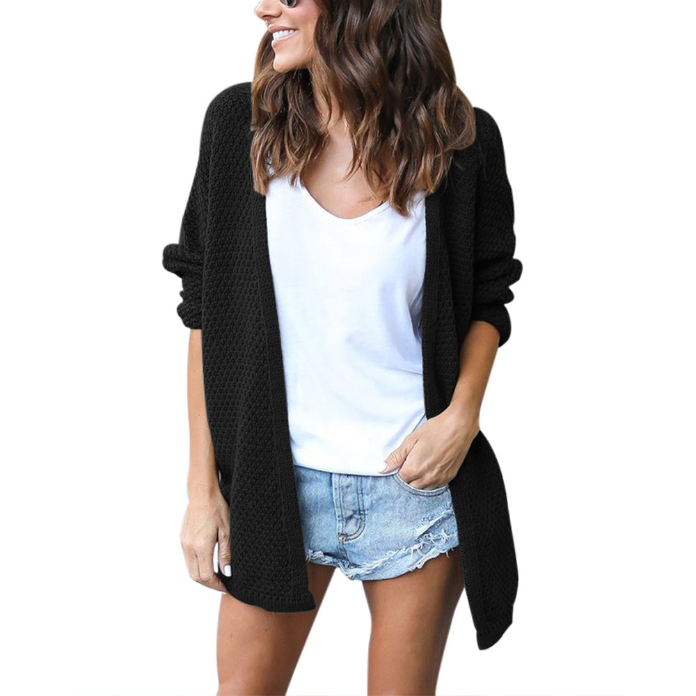 Lrud Women's Loose Knited With Sleeve Cardigans Chunky Open Front Sweater Casual Coat Black-S