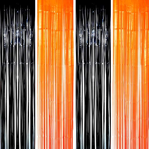 Black Orange Party Tinsel Foil Fringe Curtains - Halloween Construction 1st Birthday Graduation Wedding Party Photo Booth Props Backdrops Decorations