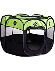 Foldable Washable Pet Tent Dog House Puppy Cat Cage Kennel Octagonal Fence Home Outdoor Supplies (Color : Apple Green)