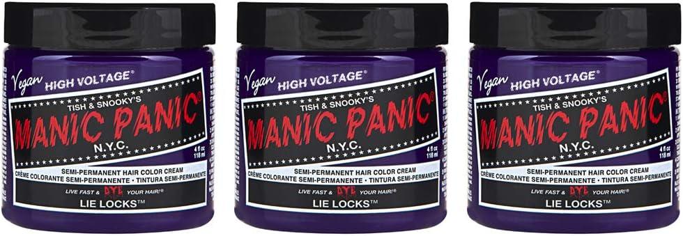 Manic Panic - Lie Locks Classic Creme Vegan Cruelty Free Semi-Permanent Hair Colour - 3 x 118ml