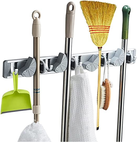 5Pc Broom Mop Wall Holder Garden Tool Garage Organizer Hanger Clip Self Adhesive