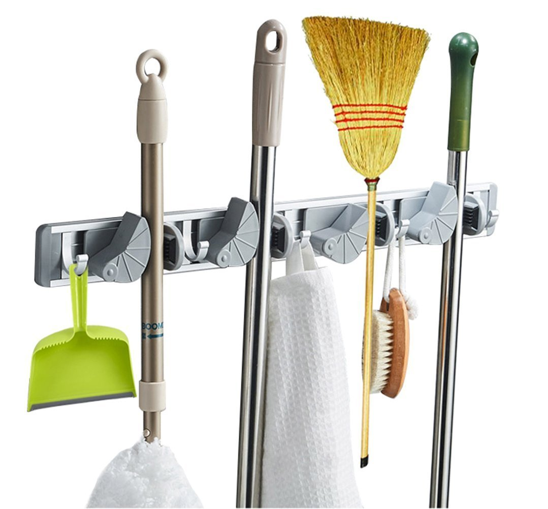Multi-functional Mop Rack Senior Aluminum Clip On Broom Holder and Garden Tool Organizer for Rake or Mop Handles and Many Handy Tools 9 in 1 (Silver and Gray)