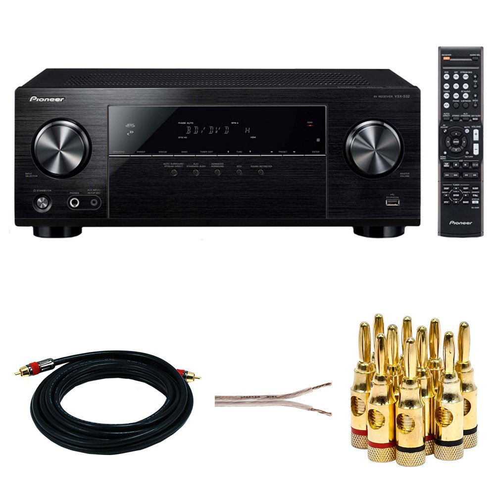 Pioneer VSX-532 5.1-Channel AV Receiver w/Ultra HD Pass-through w/HDCP 2.2 + 15ft Coaxial Audio/Video RCA CL2 Rated Cable + 16 AWG Speaker Wire 100ft + Banana Plugs 5-Pair (Open Screw)