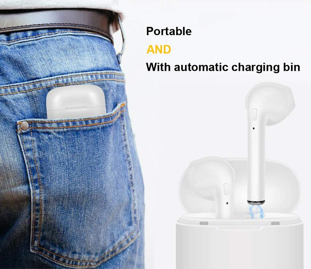 Long Battery Life Wireless Bluetooth Earbuds with Portable Charging Case in-Ear Noise Cancelling Stereo Headset for All Smartphones Anti-Sweat Earplugs Gym Running