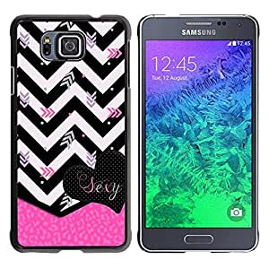 Paccase / SLIM PC / Aliminium Casa Carcasa Funda Case Cover - Black White Zebra Pink Heart - Samsung GALAXY ALPHA G850