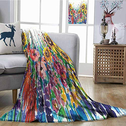 SONGDAYONE Decorative Blanket Modern Camping Blanket Floral Watercolor Style Wildflowers Country Kitchenware Flowers Art Print Yellow Purple Red Green W54 xL72