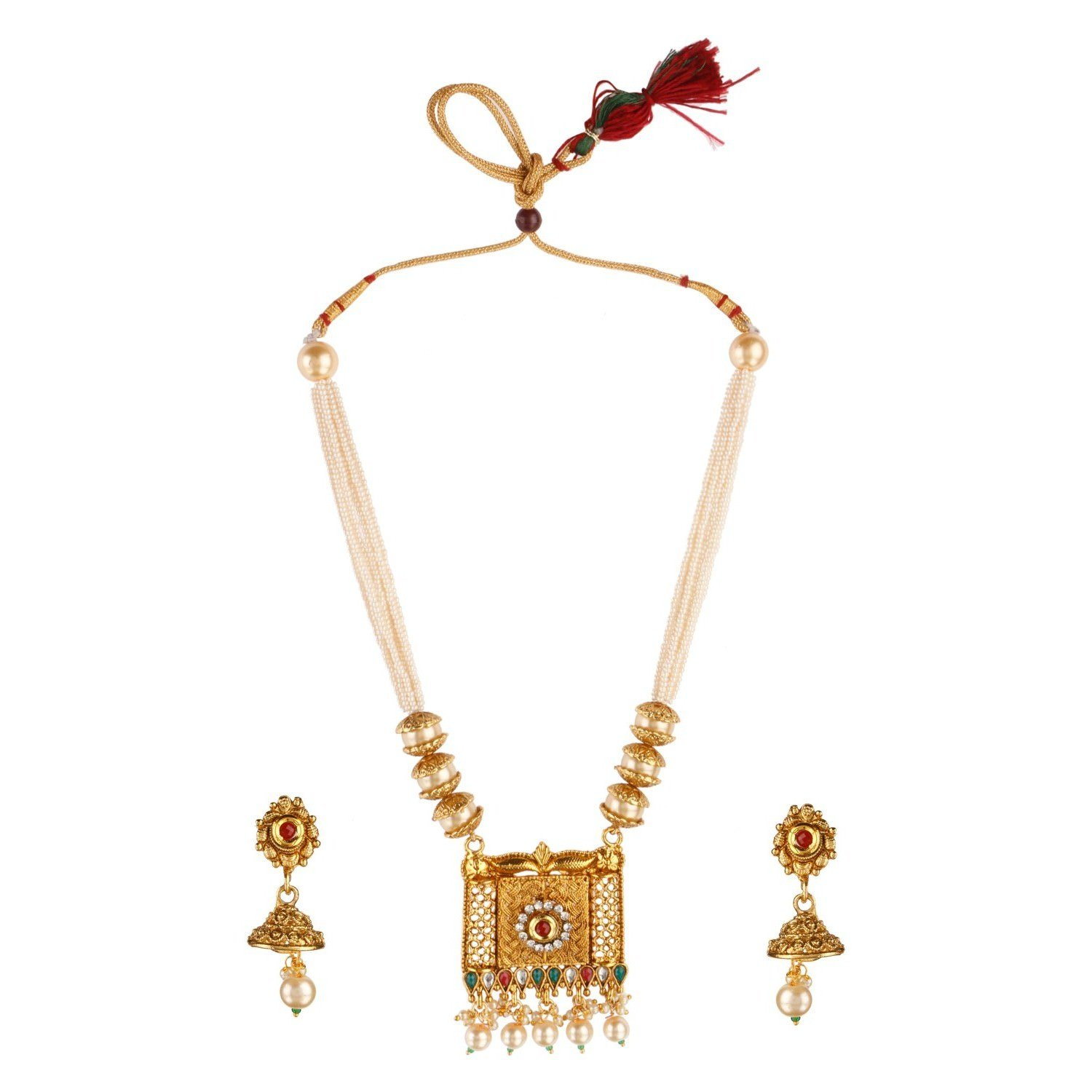 Efulgenz Indian Bollywood Traditional Floral 14 K Gold Plated Crystal Kundan Pearl Wedding Temple Necklace Earrings Jewelry Set