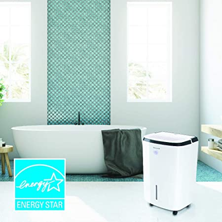 Honeywell TP50WK 50 Pint Energy Star Dehumidifier Basement Room Up to 3000 Sq Ft. with Anti-Spill Design, White