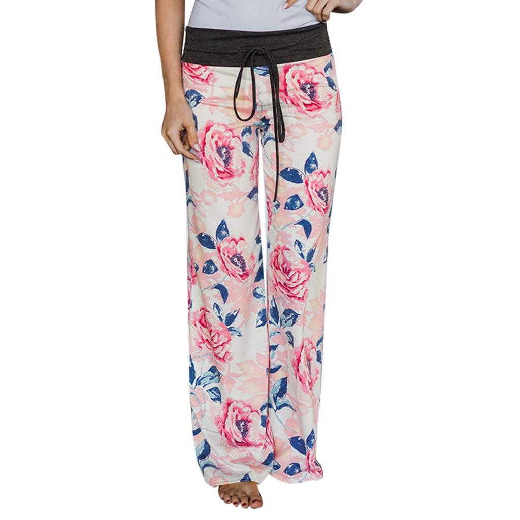 NUWFOR Women Fashion Print Floral Trousers Ladies Autumn Casual Wide Legs Yoga Pants(White,M US Waist:29.5'')