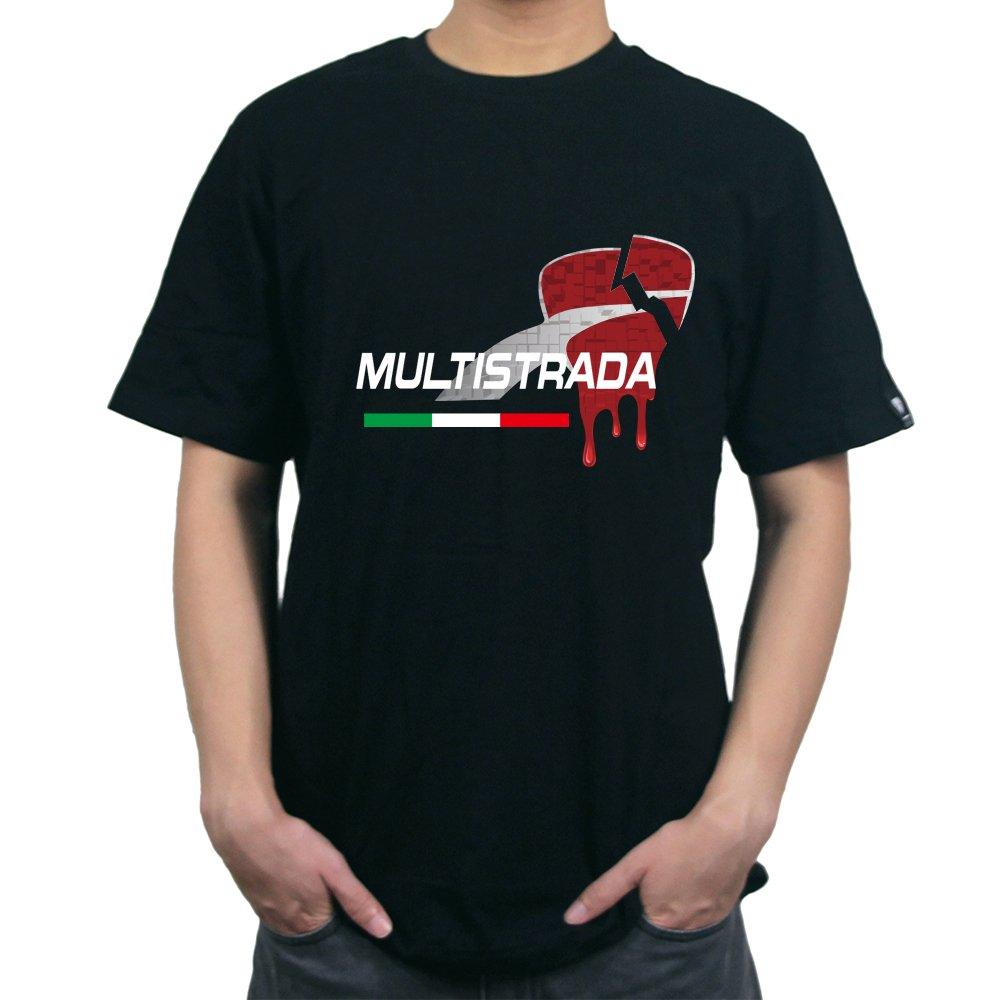 T-shirt uomo casual KODASKIN-EU in cotone personalizzabile per Ducati MULTISTRADA 950 (L, nero) SKT-DT-05-02