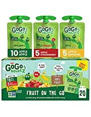 GoGo SqueeZ Applesauce, Variety Pack (Apple/Banana/Strawberry), 3.2 Ounce (20 Pouches), Gluten Free, Vegan Friendly, Unsweetened, Recloseable BPA Free Pouches (280103)