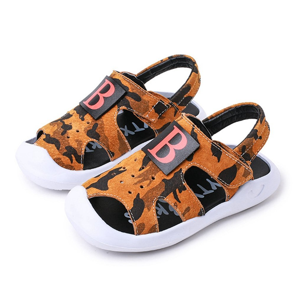 CYBLING Kids Sport Sandals Closed Toe Leather Strap Boys Athletic Beach Shoes (Toddler/Little Kid)