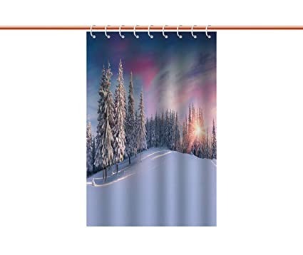 Personalized Shower Curtain WinterIdyllic Panorama Of Winter Sunrise In Snow Covered Mountains Serenity