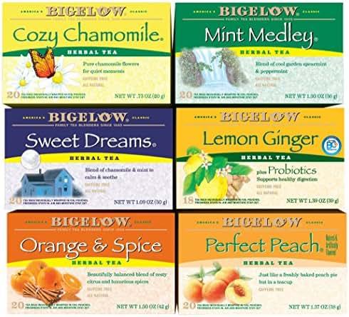 Bigelow Herbal Tea Variety Pack 118 Bags Caffeine-Free Individual Herbal Tisane Bags, for Hot Tea or Iced Tea, Drink Plain or Sweetened with Honey or Sugar