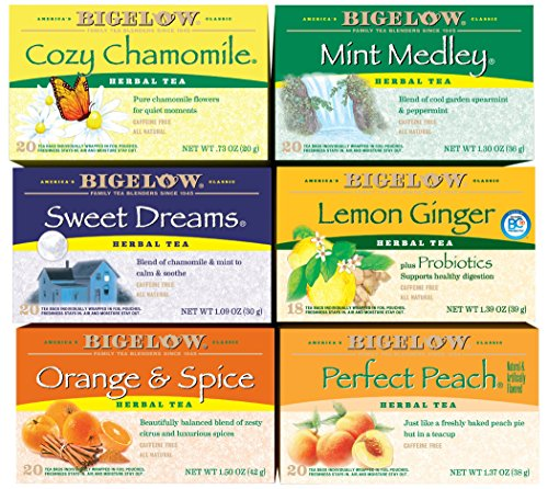 Bigelow Herbal Tea Variety Pack, 118 Bags, Mint Medley, Cozy Chamomile, Orange & Spice, Sweet Dreams, Perfect Peach, and Lemon (Chamomile Caffeine Free Tea)