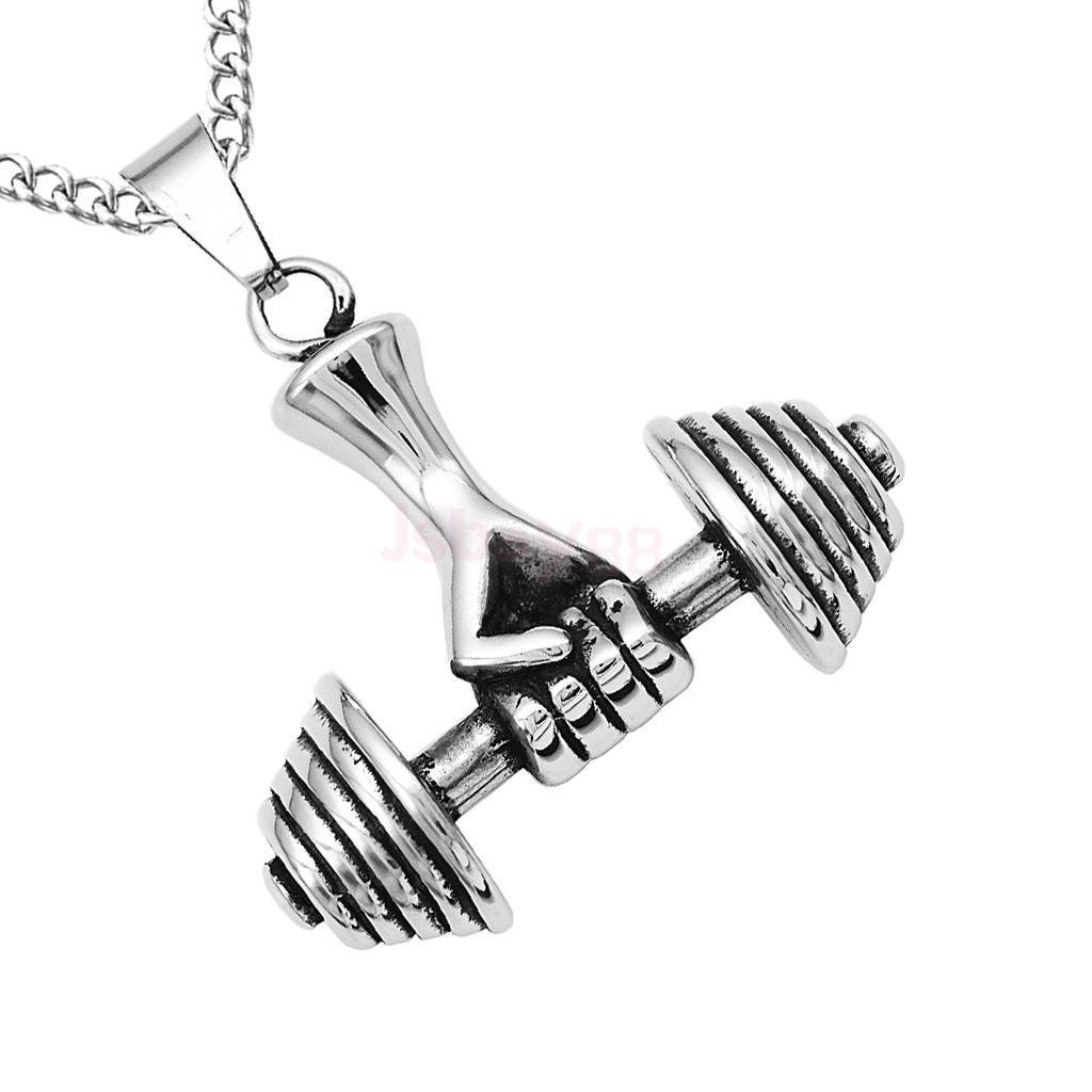 FidgetKute Mens Silver Stainless Steel Dumbbell Barbell Pendant Weightlifting Necklace