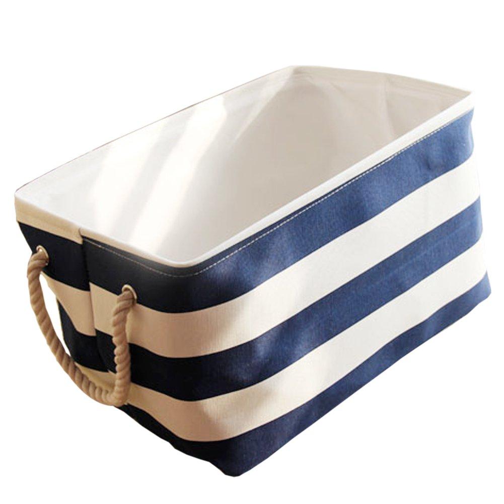 exttlliyストライプ折り畳み式のストレージビンオーガナイザーハンドル付きバスケットボックスfor Baby & Kidsおもちゃ、服、本 S ブルー Small ブルー B076WWZVKC