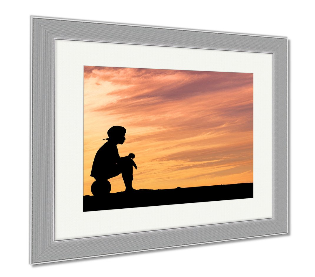Ashley Canvas Silhouette Of A Boy Sitting On Football Or Soccer Ball At The Beach With Sunset, Wall Art Home Decoration, Color, 26x30 (frame size), Silver Frame, AG4960612