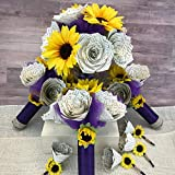 Sunflowers and Book Page Flowers Wedding Bouquet Package