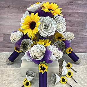 Sunflowers and Book Page Flowers Wedding Bouquet Package 27