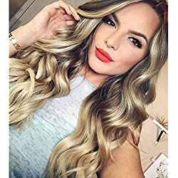 Yalize Natural Black Roots Light Blonde Ombre Color Long Curly Wig High Density Heat Resistant Synthetic Cosplay Full Wigs 26 inches for Women