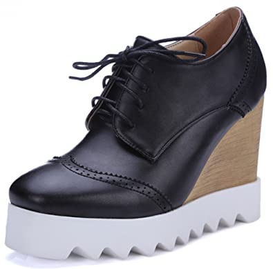 f70009cf2 Summerwhisper Women's Stylish Square Toe Lace up Brogues Pumps Shoes Wedge  High Heel Platform Sneakers Black
