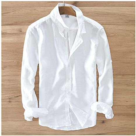 Mens Pure Linen Long-Sleeved Shirt Men Clothing Shirt Solid White Camisa Mens: Amazon.es: Ropa y accesorios