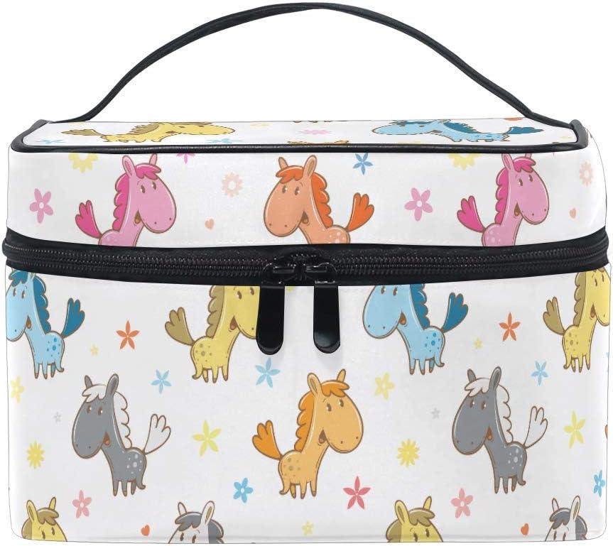 HaJie - Bolsa de maquillaje de gran capacidad, organizador de caricaturas, diseño de caballo y estrella de viaje, portátil, bolsa de almacenamiento de artículos de tocador para mujeres y niñas