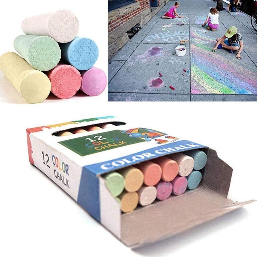 succeedw DIY Sidewalk Chalk Sidewalk Washable Anti-Roll Bright Coloured ChalksSet Colorful Doodle Drawing Dustless Chalk for Home Decoration