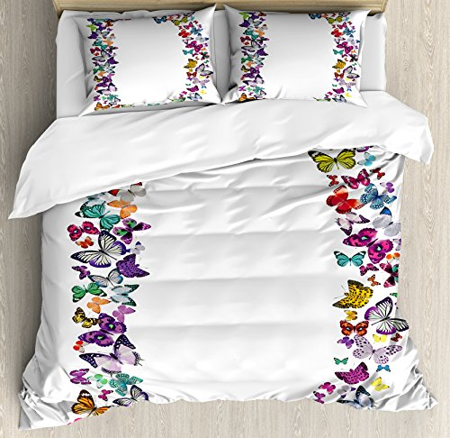 Letter D Duvet Cover Set King Size by Ambesonne, Magical Creatures Flying Monarch Butterflies Fragility Grace Artistic Collection, Decorative 3 Piece Bedding Set with 2 Pillow Shams, Multicolor