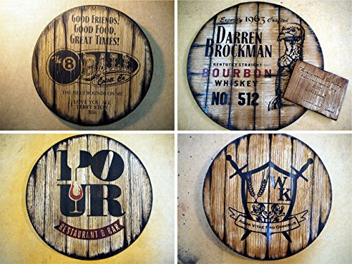 Personalized decorative sign inspired by whiskey barrel tops, Rustic wall decor| Your logo and message on a distressed wood plaque| Gifts for Men| Business Gift| Dad Gifts