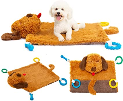 Idepet Dog Play Mat,Puppy Toy Mat with Chew Toys Multiple Dog Puzzle Interactive Toy Pet Playing Mat for Small Medium Dogs Cats,All-in-One