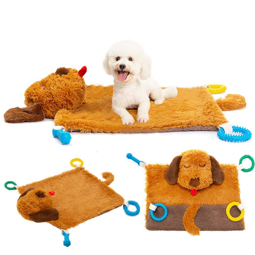 PUPTECK Dog Play Mat - Squeaker in Both Ears and Tail -Puppy Chew Toys, Teething Ropes on Plush Warm Soft Mat by PUPTECK