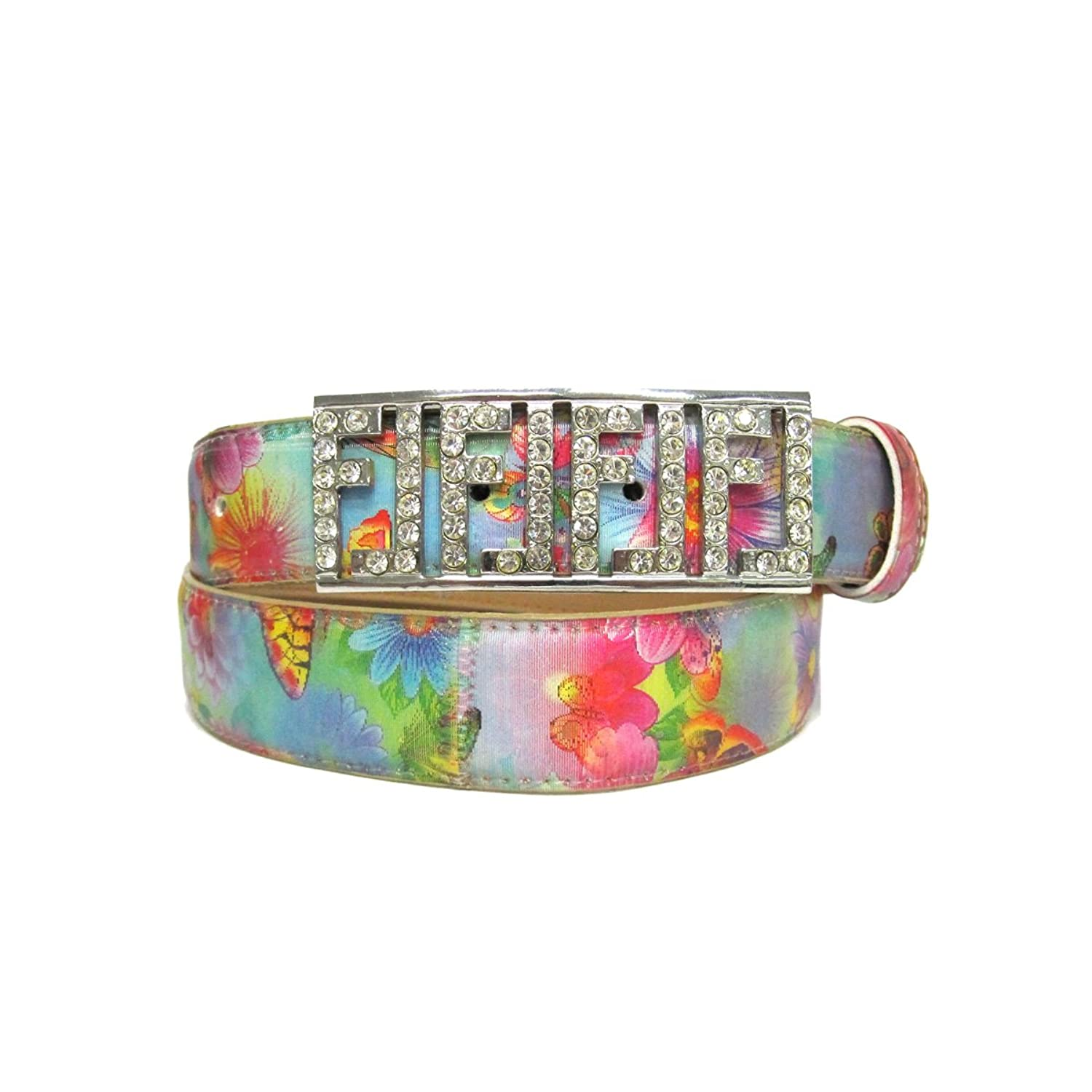 "1 1/4"" Women's Love Life Buckle with Rhinestones on Quality Floral 3D Print Belt"