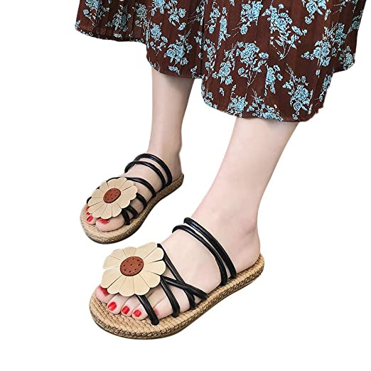 0c60911a95b1 Amazon.com  Women Sandals Flowers - POHOK Women s Fashion Two Wear Sandals  Retro Fashion Casual Flat Sweet Simple Shoes  Clothing