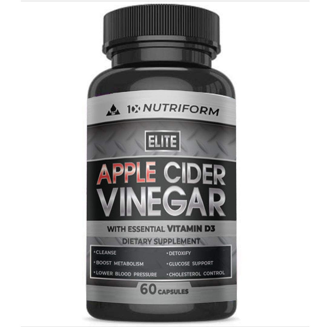 Premium Quality Apple Cider Vinegar Capsules with Vitamin D3, Cayenne Pepper, Ceylon Cinnamon - Safe Weight Loss, Natural Detox, Cleanse, Digestion, Glucose Support, Caffeine Free Metabolism Booster by 10X Nutriform