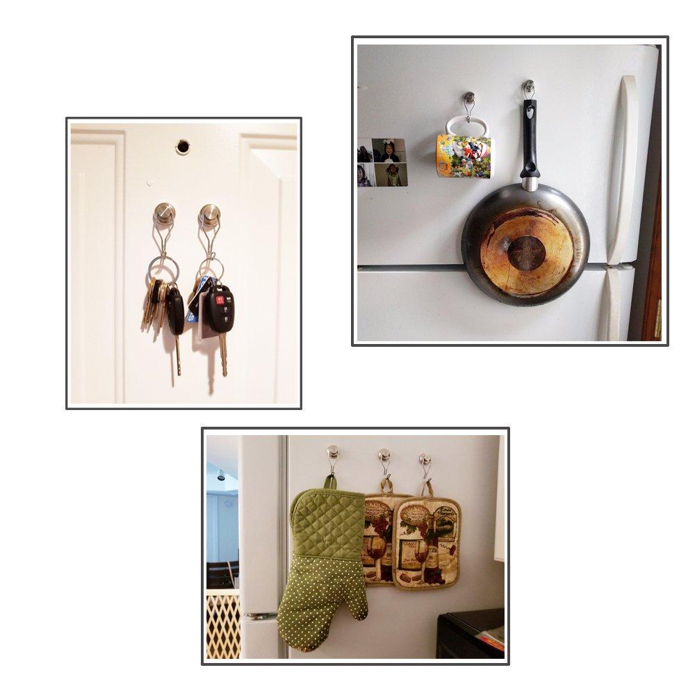 50lb Magnetic Hooks, Makone 1.26'' D32 Heavy Duty Rotating Swivel Swing Strong Neodymium Magnet Hooks (5 Packs)