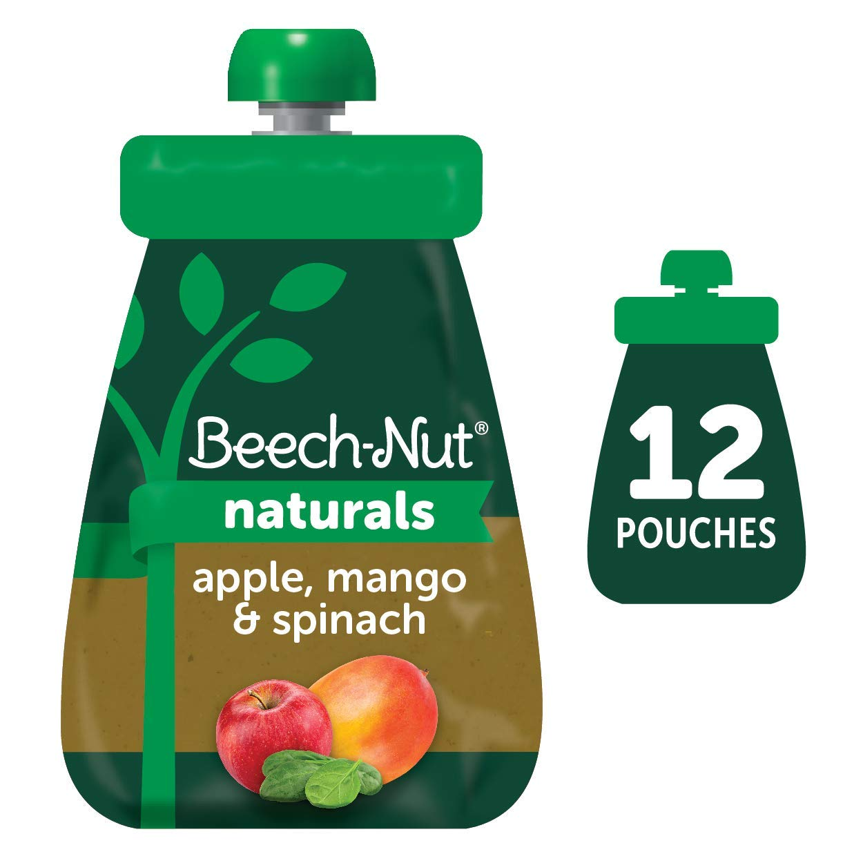 Beech-Nut Naturals Stage 2 Baby Food Pouch, Apple, Mango & Spinach, 12 Count, 3.5 oz Pouches