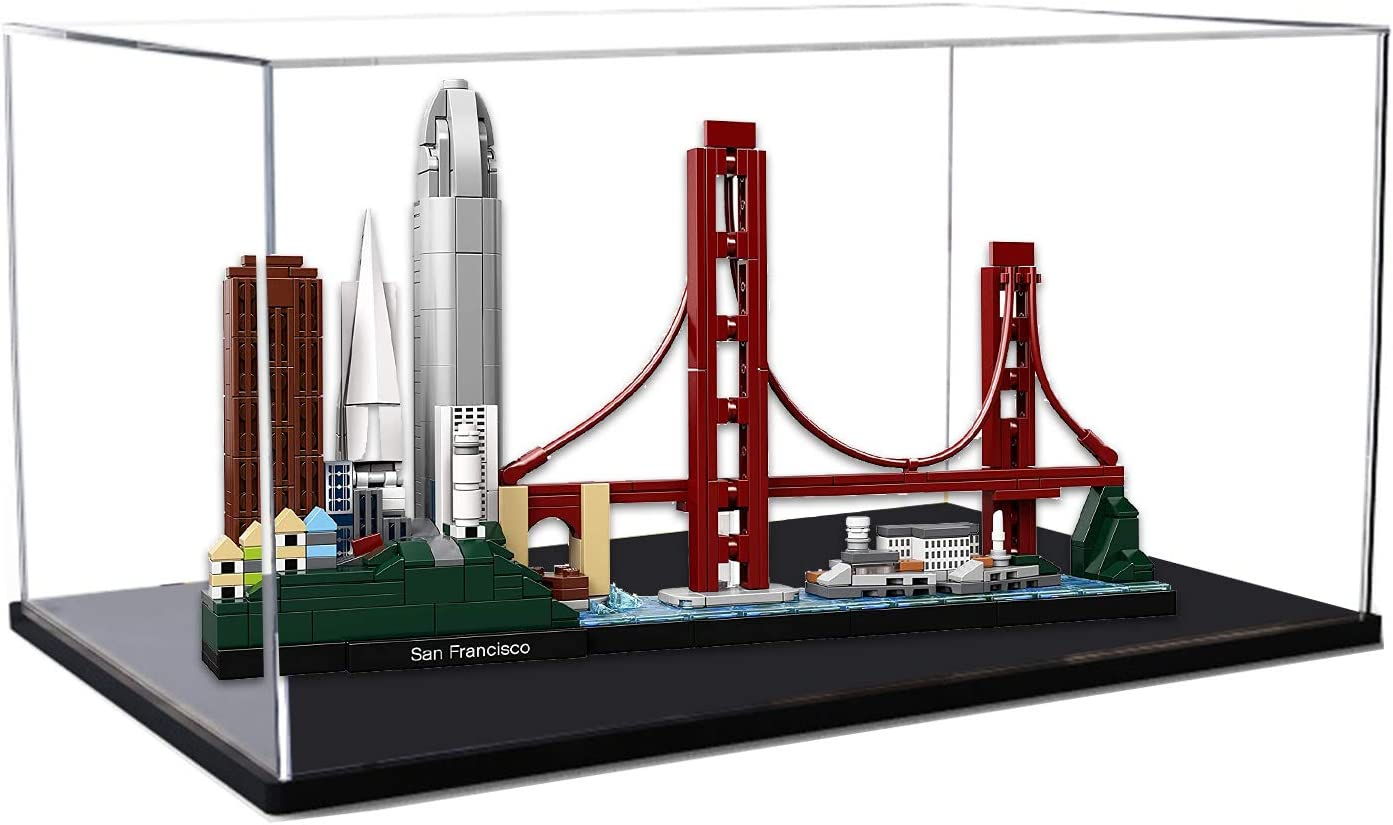 icuanuty Acryl Vitrine f/ür Lego 21043 Architecture San Francisco Staubdichte Vitrine f/ür Modelle Sammlerst/ücke Nur Vitrine
