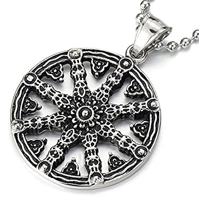 Mens dharmachakra pendant dharma wheel of law buddhist symbol mens dharmachakra pendant dharma wheel of law buddhist symbol necklace stainless steel with 234 in chain aloadofball Gallery