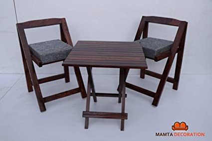 Mamta Decoration Sheesham Wood Foldable Patio Dining Set for Balcony Garden and Outdoor   2 Chairs and Square Table   Brown