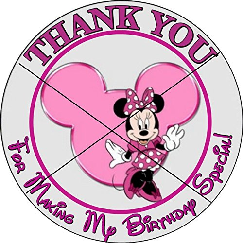 12 MINNIE MOUSE - Birthday Party Favor Stickers/Labels for Gift, Goody Treat Bag (2.5 inches circle stickers, bags not included)