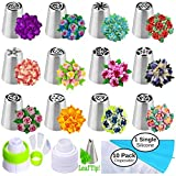 Russian Piping Tips Russian Nozzles for Cake Cupcake Icing Decorating Piping Tips 27-Pcs Russian Tips Set Cake Frosting Tips Kit (12 Russian Piping Tips Leaf Tip 2 Couplers Pastry Bags) Storage Box