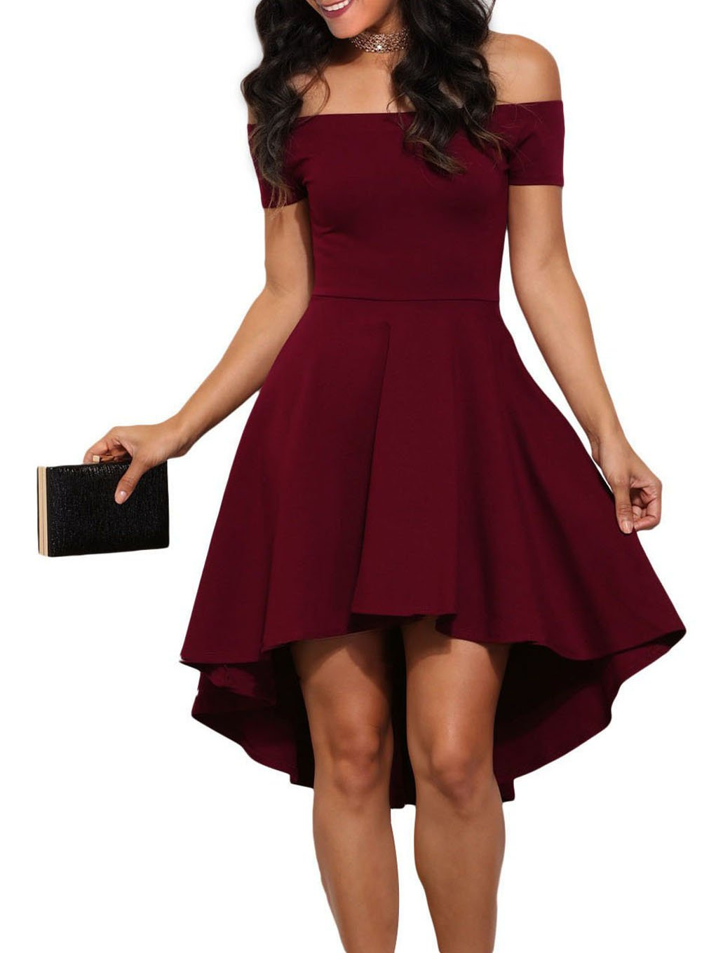LOSRLY Womens Fit and Flare Bridesmaid Cocktail Dress Prime Dark Red Burgundy Wine Maroon M 8 10