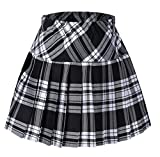 Tremour Girl's Plaid Short Sport Elasticated Pleated Skirt Black and White L