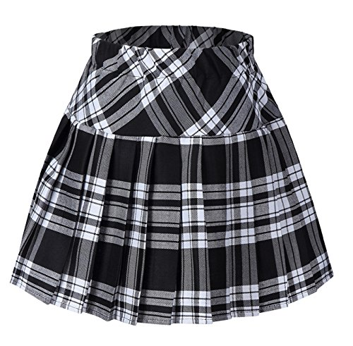 Tartan Plaid Pleated Skirt - Girl's Plaid Short Sport Elasticated Pleated Skirt Black and White L