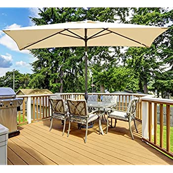 abba patio rectangular patio umbrella outdoor market table umbrella with push button tilt and crank 66 by 98 ft beige - Rectangle Patio Umbrella