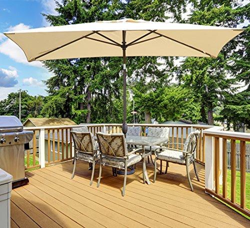 Cheap  Abba Patio Rectangular Patio Umbrella Outdoor Market Table Umbrella with Push Button..