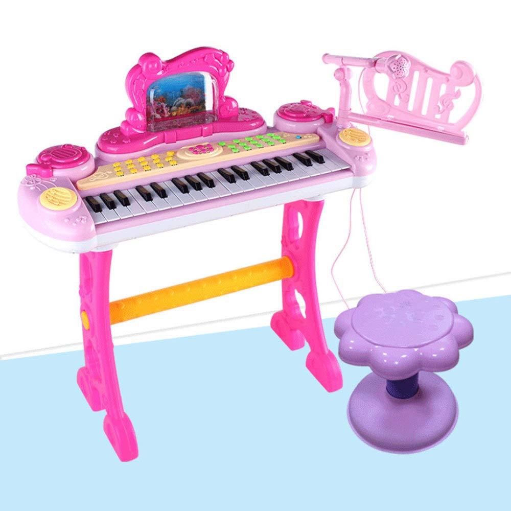 KYOKIM Pianoforte Elettronico A 37 Tasti Per Bambini, Giocattolo Multifunzionale Per L'educazione Della Prima Infanzia Con Microfono,rosa