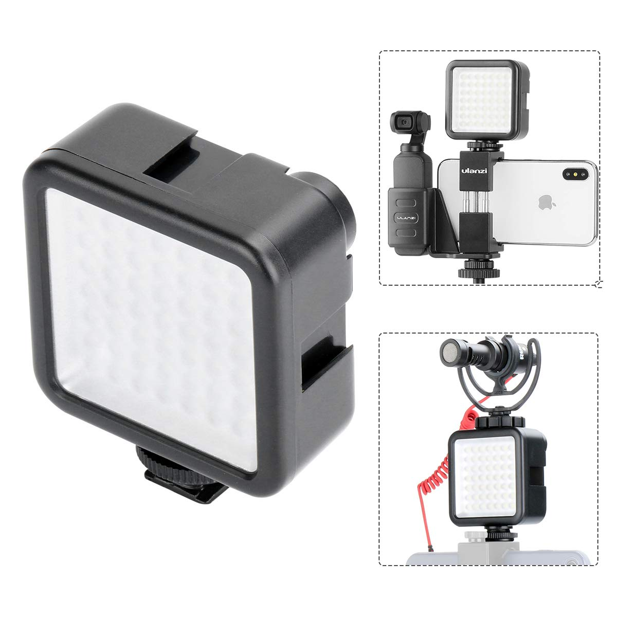 ULANZI W49 Pocket LED Video Light with 3 Cold Shoe Mounts 49 LED Bulbs Vlog Photo Fill Light on Camera for DJI OSMO Pocket Sony A6400 A6300 Canon DSLR Cameras Wedding Interview Macrophotography by ULANZI Select